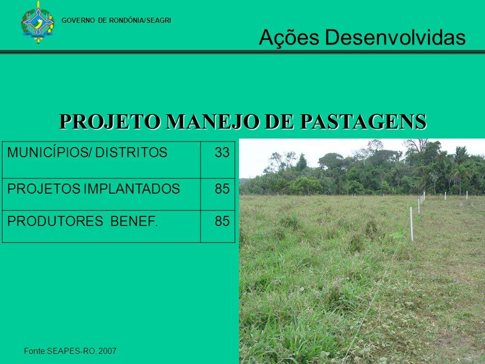 GOVERNO DE RONDÔNIA/SEAGRI PROJETO MANEJO DE PASTAGENS