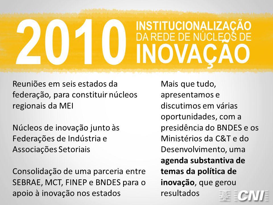 2010 INOVAÇÃO INSTITUCIONALIZAÇÃO DA REDE DE NÚCLEOS DE