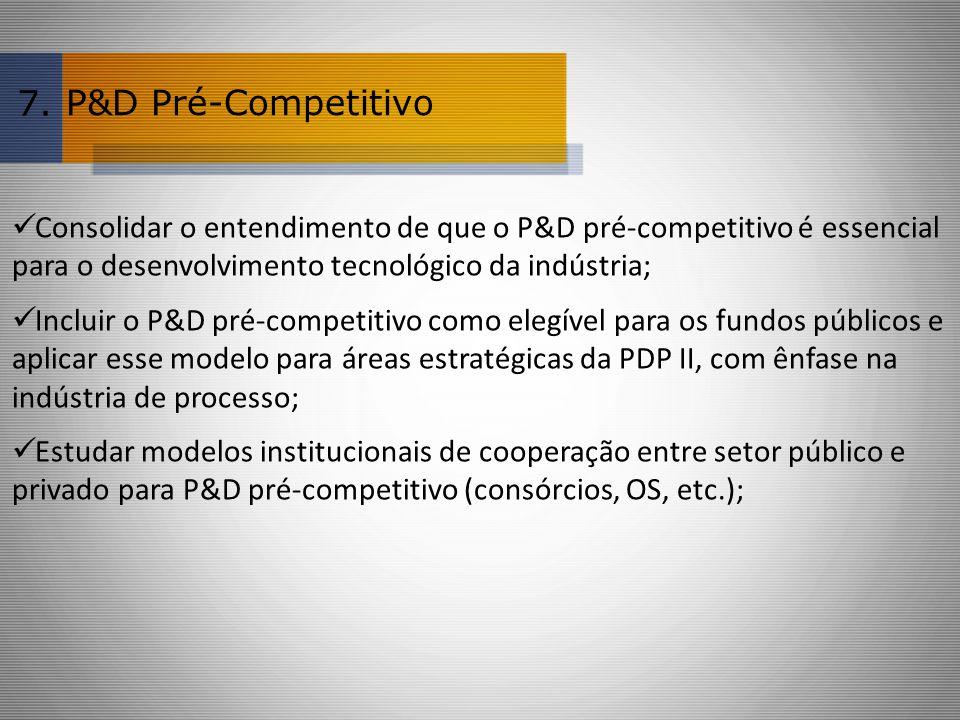 7. P&D Pré-Competitivo. Consolidar o entendimento de que o P&D pré-competitivo é essencial para o desenvolvimento tecnológico da indústria;