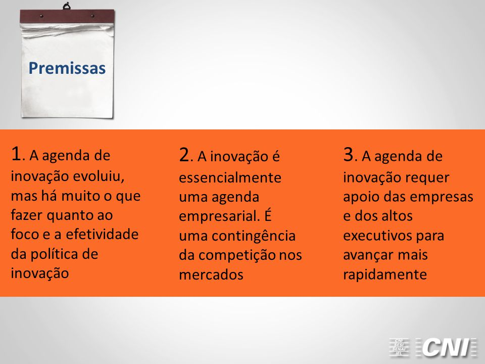 Premissas 2. A inovação é essencialmente uma agenda empresarial. É uma contingência da competição nos mercados.
