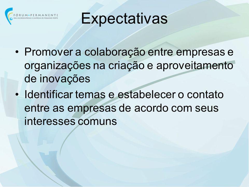 Expectativas Promover a colaboração entre empresas e organizações na criação e aproveitamento de inovações.