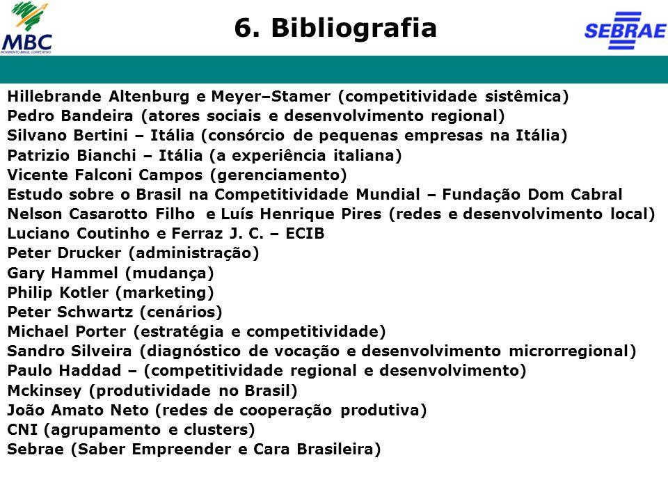 6. Bibliografia Hillebrande Altenburg e Meyer–Stamer (competitividade sistêmica) Pedro Bandeira (atores sociais e desenvolvimento regional)
