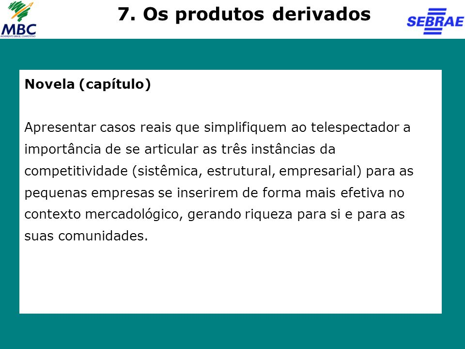 7. Os produtos derivados Novela (capítulo)