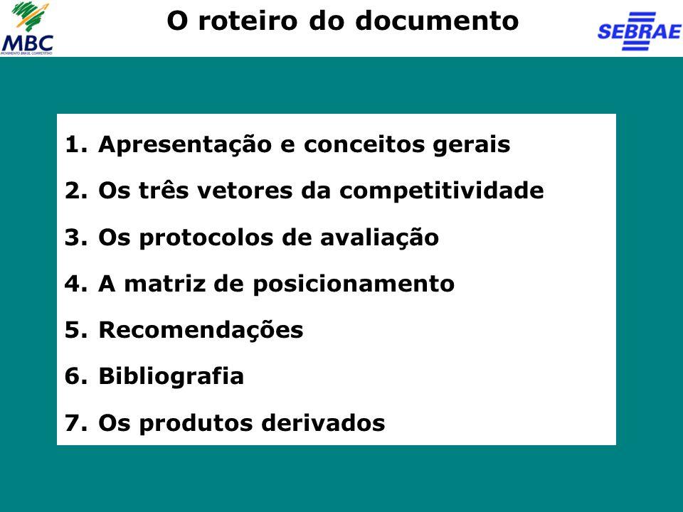 O roteiro do documento Apresentação e conceitos gerais
