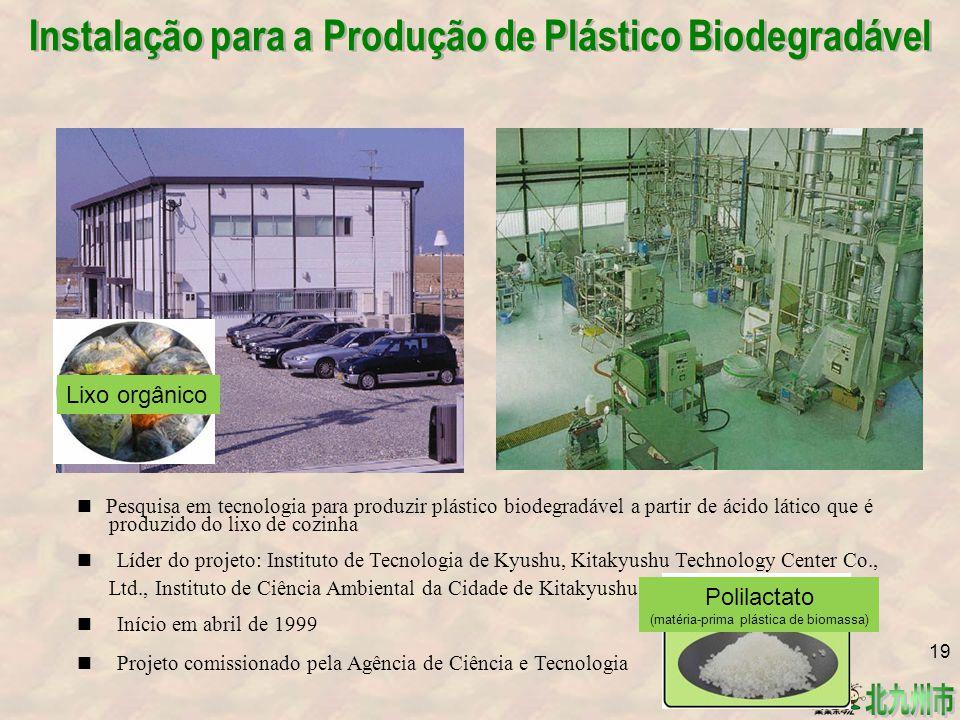 Instalação para a Produção de Plástico Biodegradável