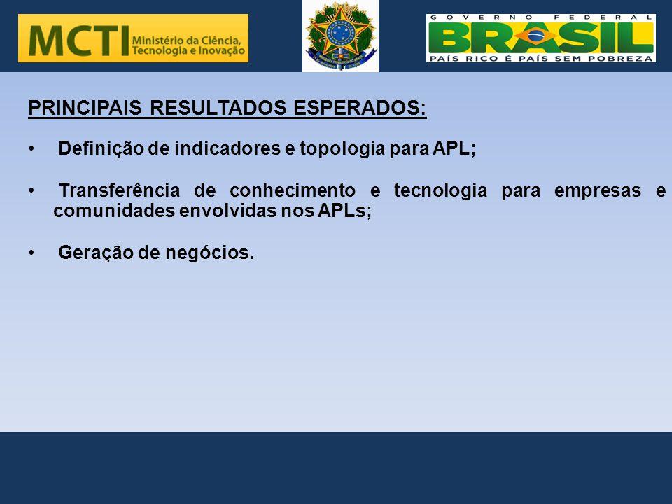 . . PRINCIPAIS RESULTADOS ESPERADOS: