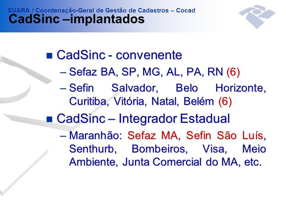 CadSinc – Integrador Estadual