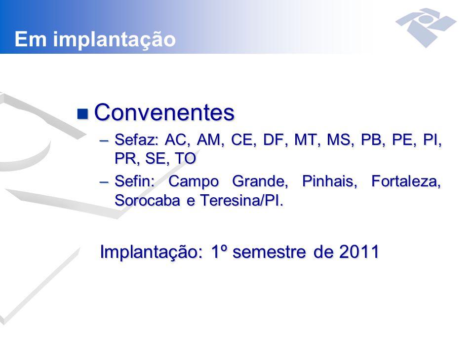 Convenentes Em implantação Implantação: 1º semestre de 2011