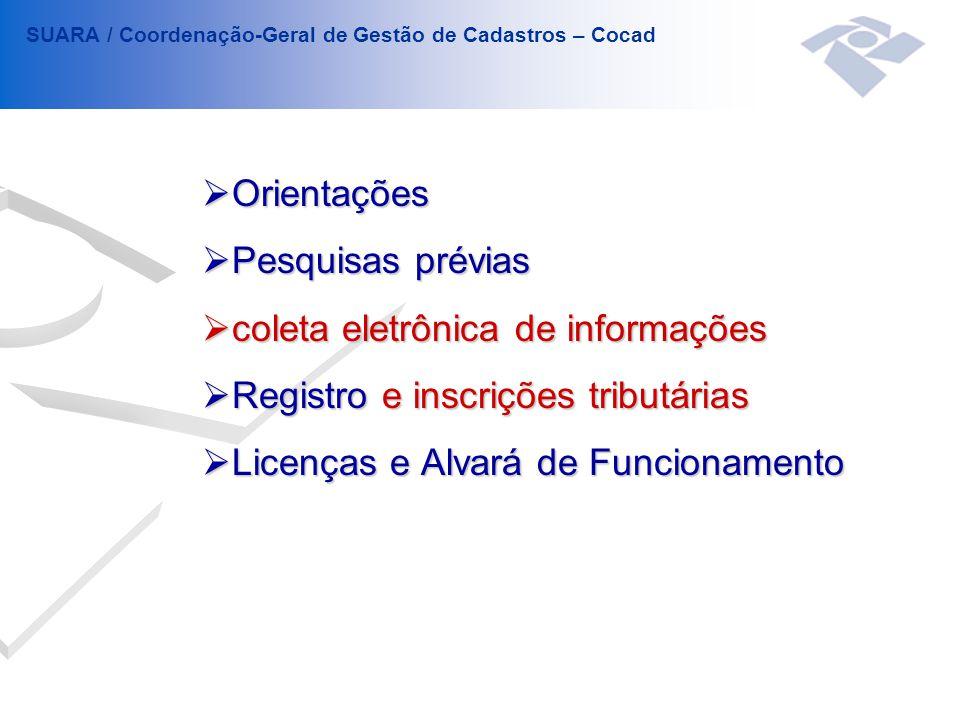 coleta eletrônica de informações Registro e inscrições tributárias