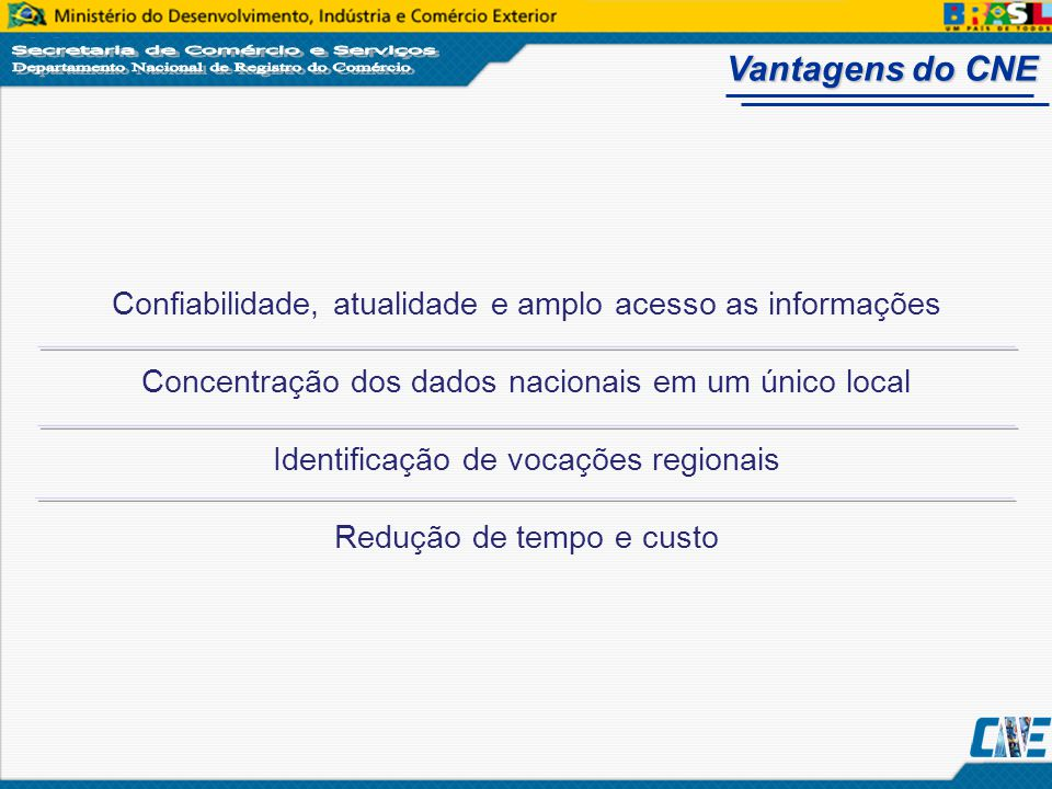 Vantagens do CNE Confiabilidade, atualidade e amplo acesso as informações. Concentração dos dados nacionais em um único local.