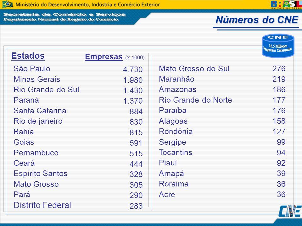 CNE 16,5 Millones Empresas Catastradas Números do CNE Estados