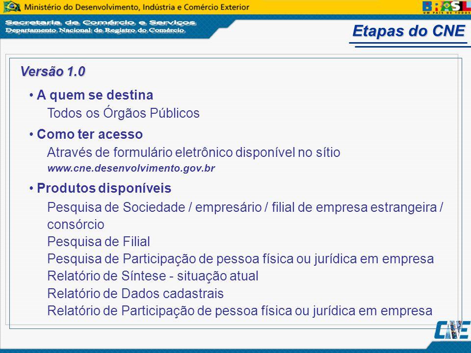 Etapas do CNE Versão 1.0 A quem se destina Todos os Órgãos Públicos