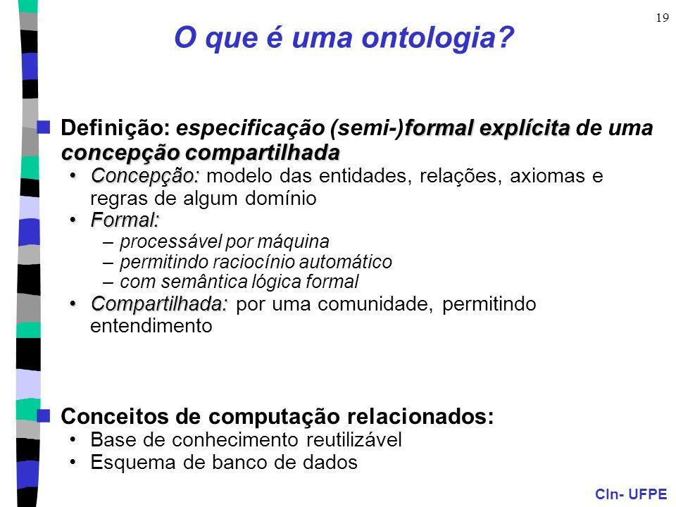 O que é uma ontologia Definição: especificação (semi-)formal explícita de uma concepção compartilhada.