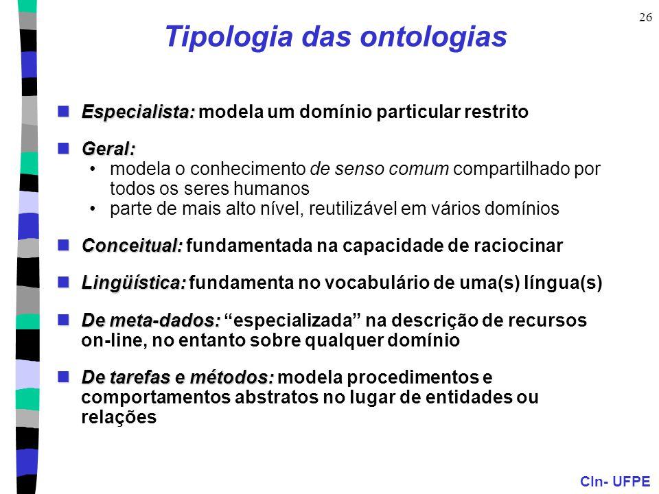 Tipologia das ontologias