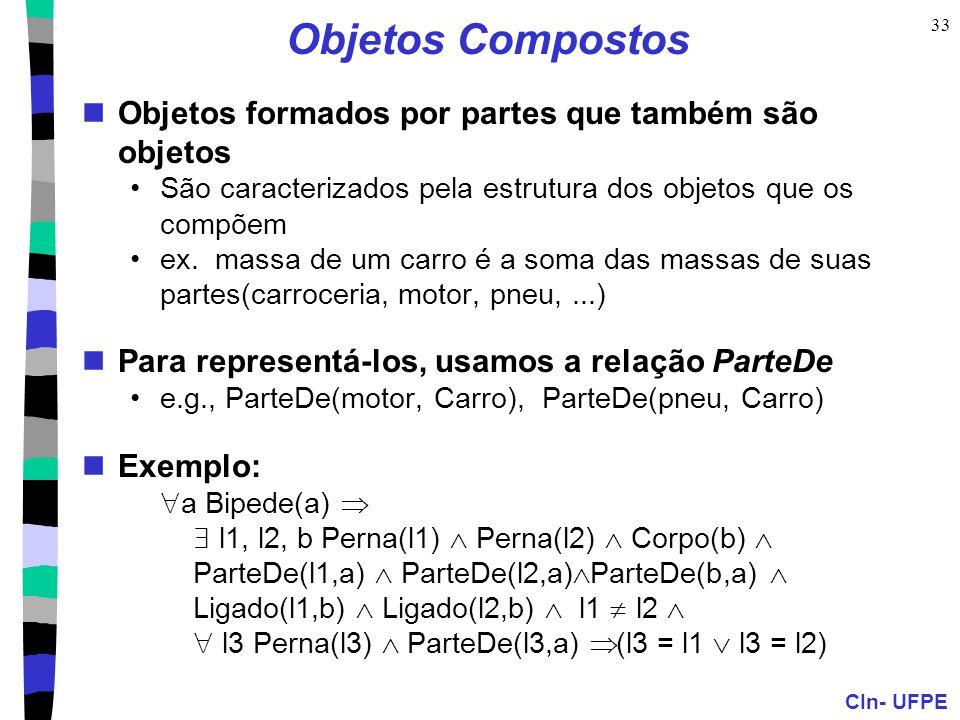 Objetos Compostos Objetos formados por partes que também são objetos