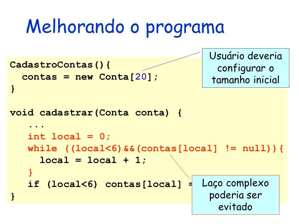 Melhorando o programa Usuário deveria configurar o tamanho inicial