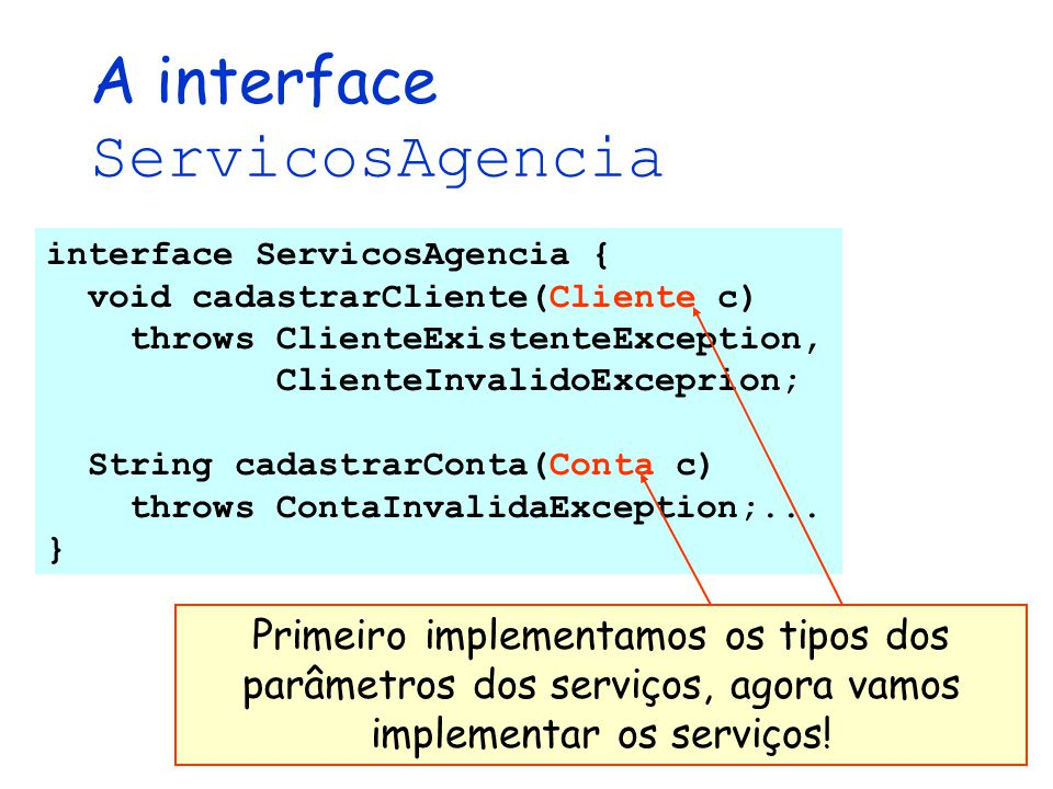 A interface ServicosAgencia
