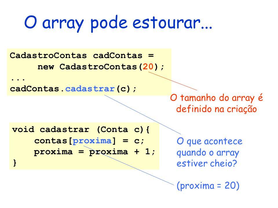 O tamanho do array é definido na criação