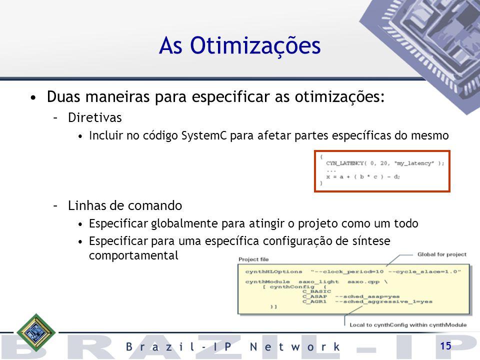 As Otimizações Duas maneiras para especificar as otimizações: