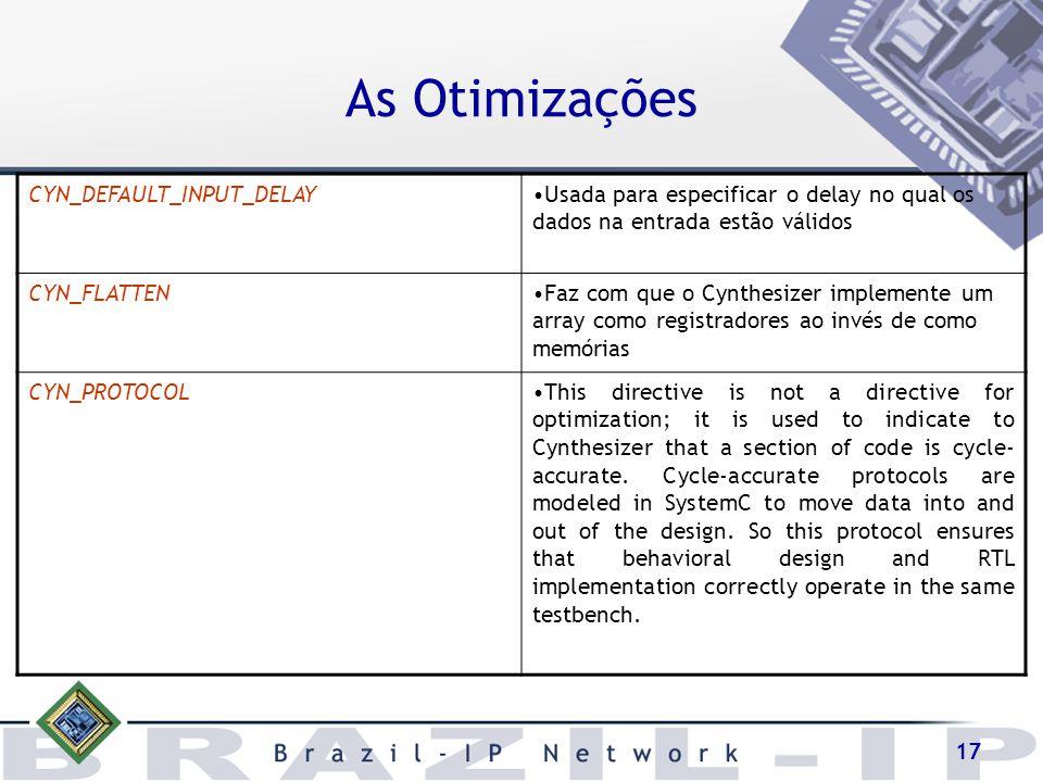As Otimizações CYN_DEFAULT_INPUT_DELAY