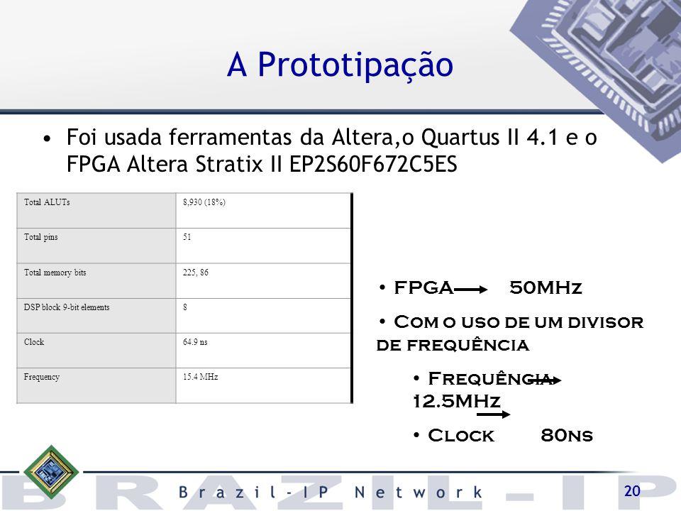 A Prototipação Foi usada ferramentas da Altera,o Quartus II 4.1 e o FPGA Altera Stratix II EP2S60F672C5ES.