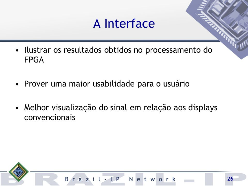 A Interface Ilustrar os resultados obtidos no processamento do FPGA