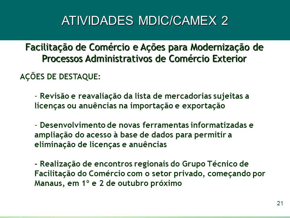 ATIVIDADES MDIC/CAMEX 2