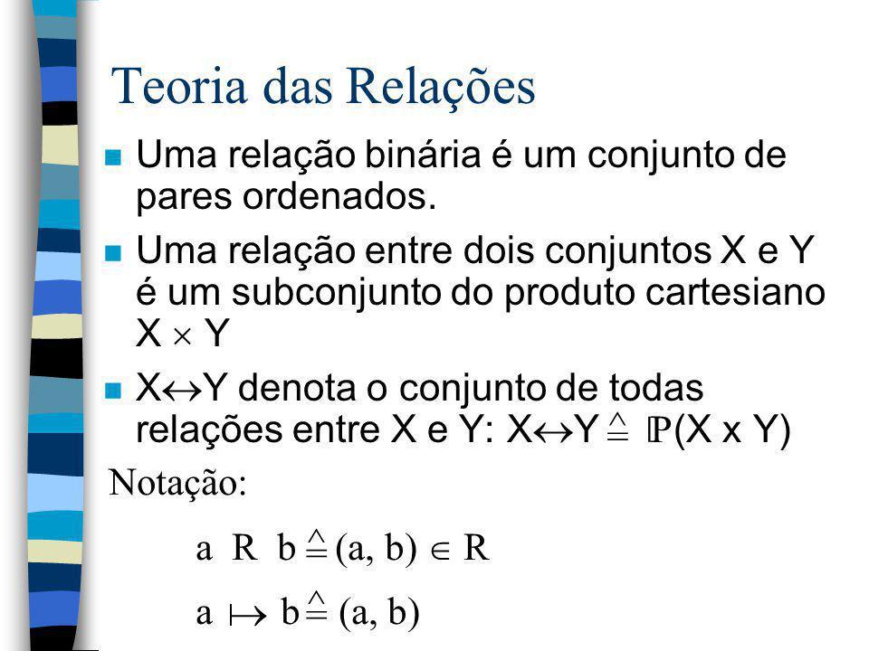 Teoria das Relações Uma relação binária é um conjunto de pares ordenados.