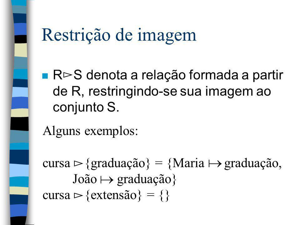 Restrição de imagem R S denota a relação formada a partir de R, restringindo-se sua imagem ao conjunto S.