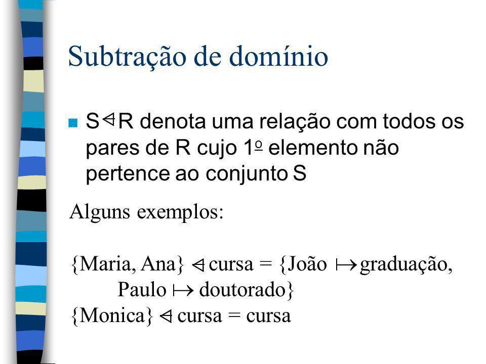 Subtração de domínio S R denota uma relação com todos os pares de R cujo 1o elemento não pertence ao conjunto S.