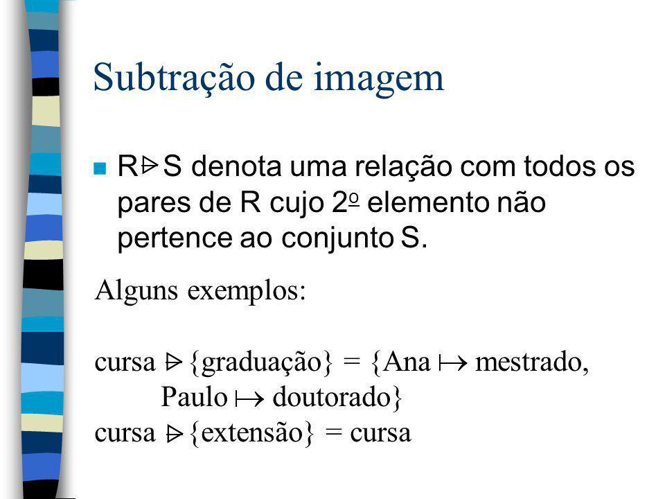 Subtração de imagem R S denota uma relação com todos os pares de R cujo 2o elemento não pertence ao conjunto S.