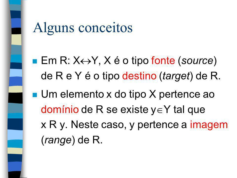 Alguns conceitos Em R: XY, X é o tipo fonte (source) de R e Y é o tipo destino (target) de R.
