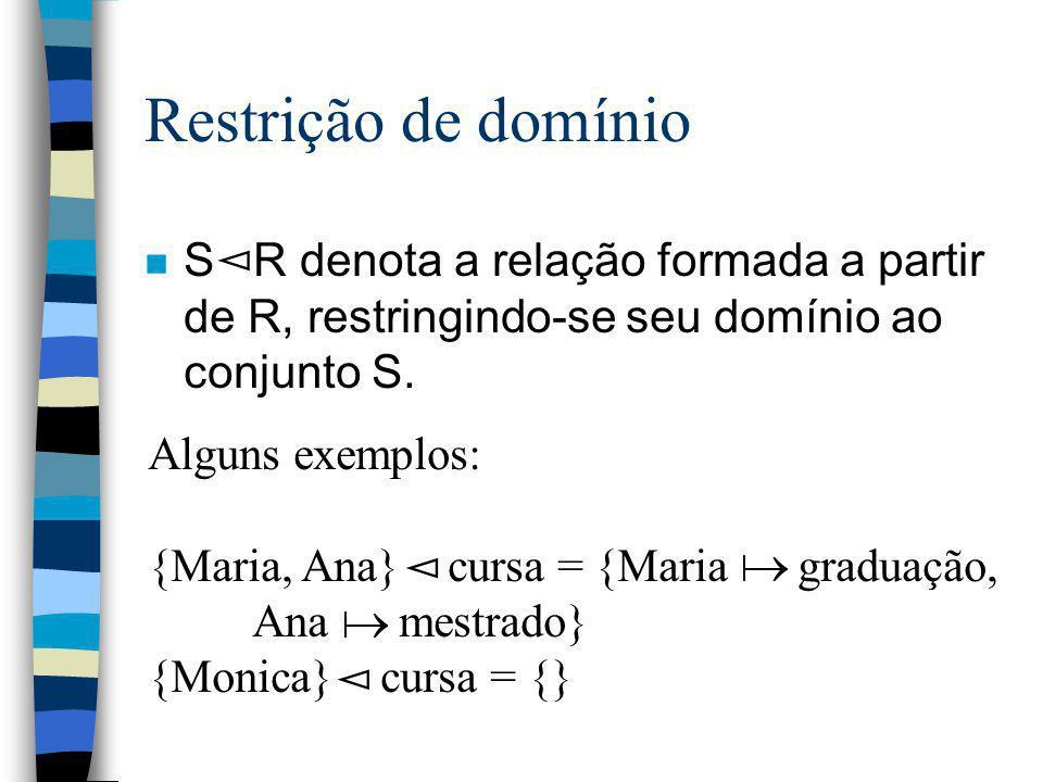 Restrição de domínio S R denota a relação formada a partir de R, restringindo-se seu domínio ao conjunto S.