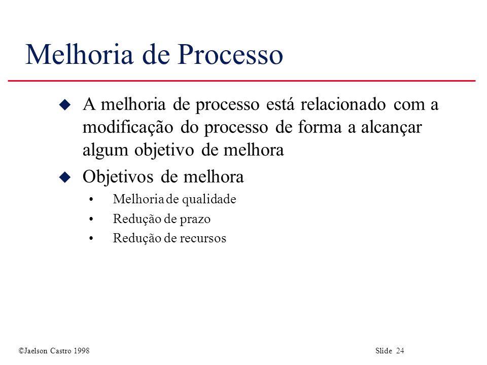 Melhoria de Processo A melhoria de processo está relacionado com a modificação do processo de forma a alcançar algum objetivo de melhora.
