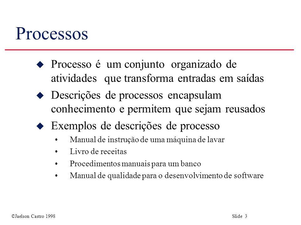Processos Processo é um conjunto organizado de atividades que transforma entradas em saídas.