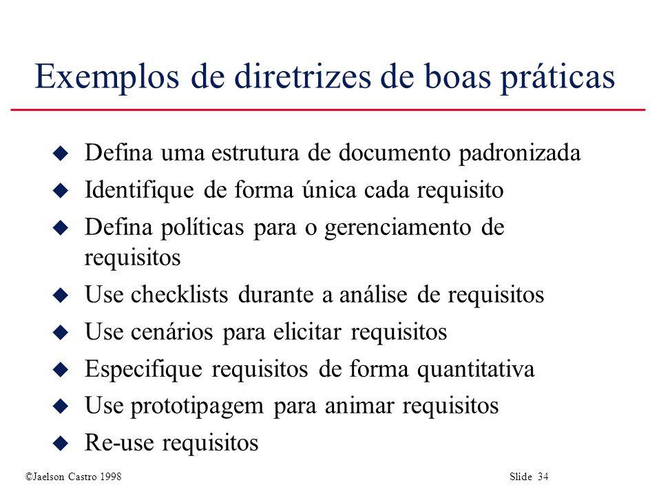 Exemplos de diretrizes de boas práticas