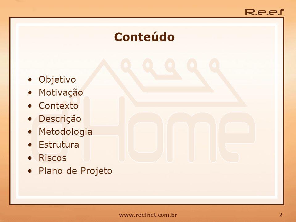 Conteúdo Objetivo Motivação Contexto Descrição Metodologia Estrutura