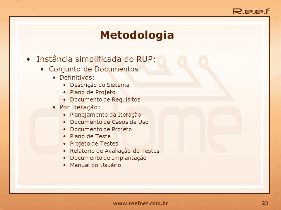 Metodologia Instância simplificada do RUP: Conjunto de Documentos:
