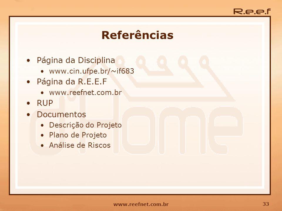 Referências Página da Disciplina Página da R.E.E.F RUP Documentos