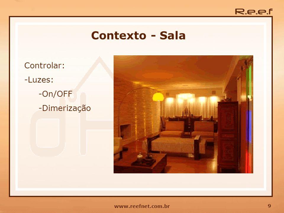 Contexto - Sala Controlar: Luzes: On/OFF Dimerização