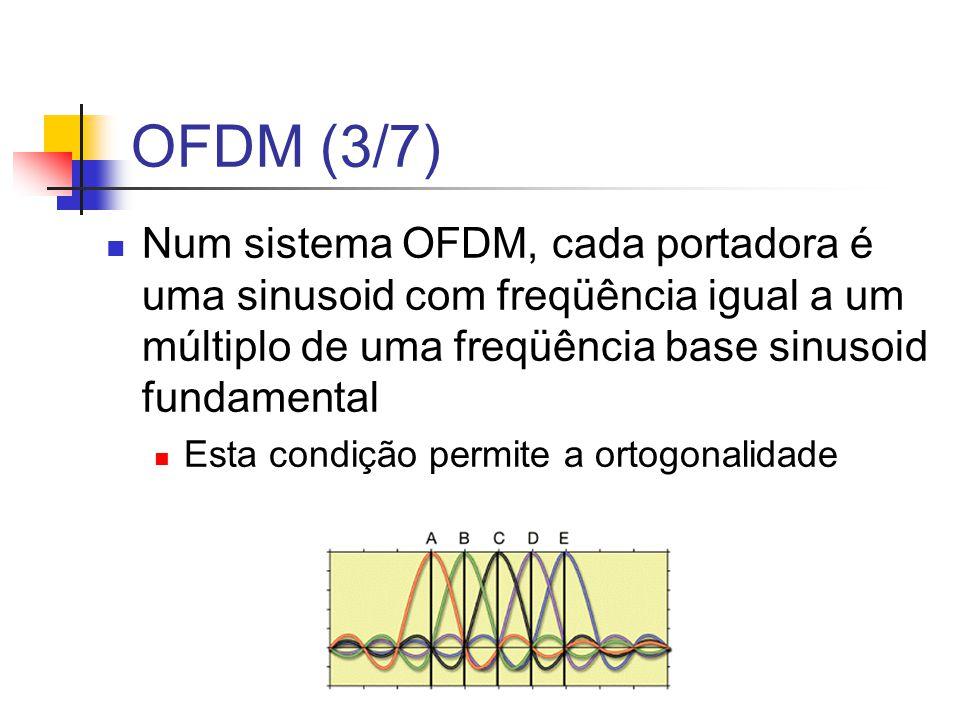 OFDM (3/7) Num sistema OFDM, cada portadora é uma sinusoid com freqüência igual a um múltiplo de uma freqüência base sinusoid fundamental.