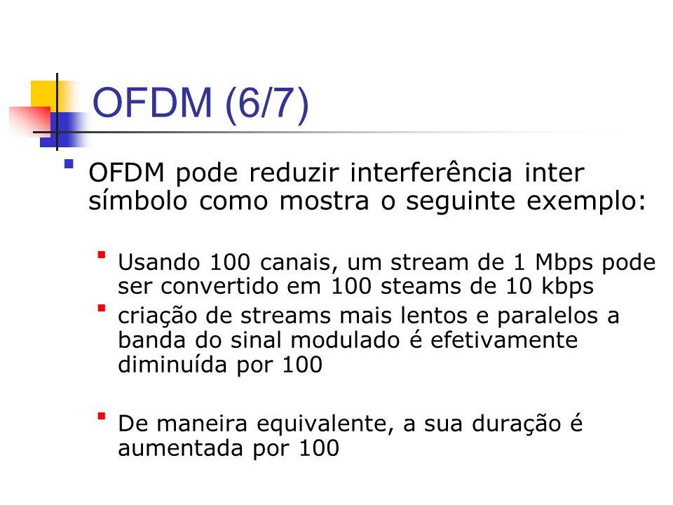 OFDM (6/7) OFDM pode reduzir interferência inter símbolo como mostra o seguinte exemplo: