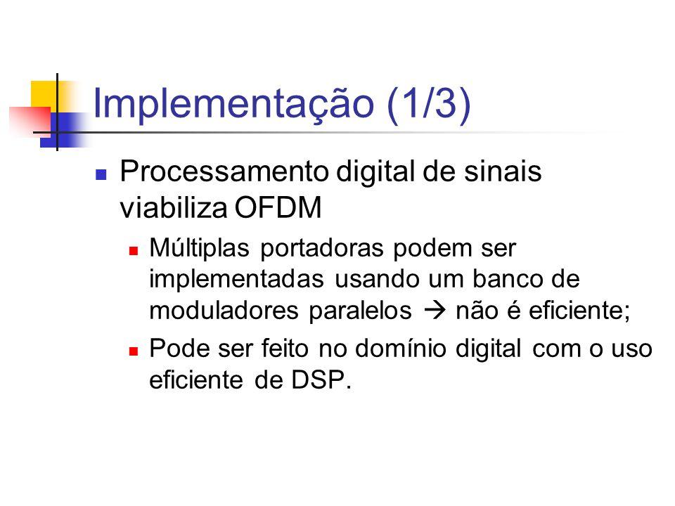 Implementação (1/3) Processamento digital de sinais viabiliza OFDM