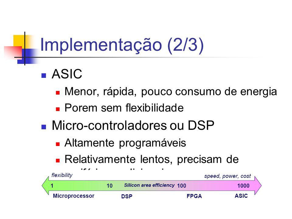 Implementação (2/3) ASIC Micro-controladores ou DSP