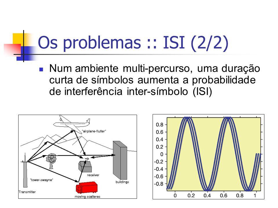 Os problemas :: ISI (2/2) Num ambiente multi-percurso, uma duração curta de símbolos aumenta a probabilidade de interferência inter-símbolo (ISI)