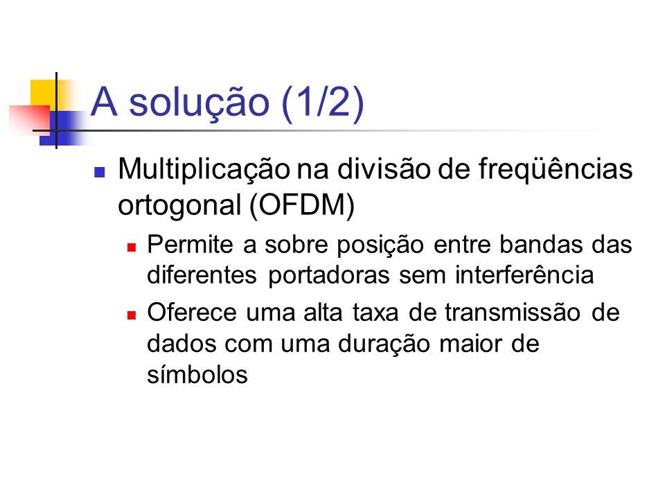 A solução (1/2) Multiplicação na divisão de freqüências ortogonal (OFDM)