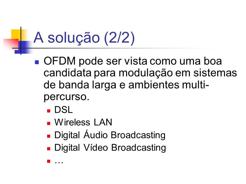 A solução (2/2) OFDM pode ser vista como uma boa candidata para modulação em sistemas de banda larga e ambientes multi-percurso.