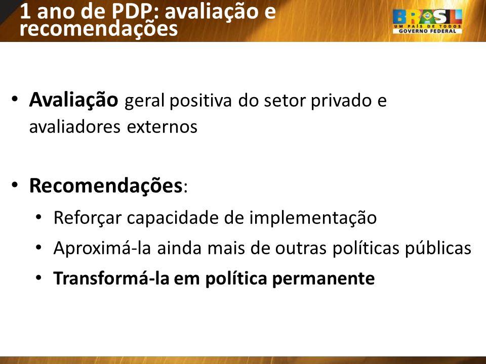 1 ano de PDP: avaliação e recomendações
