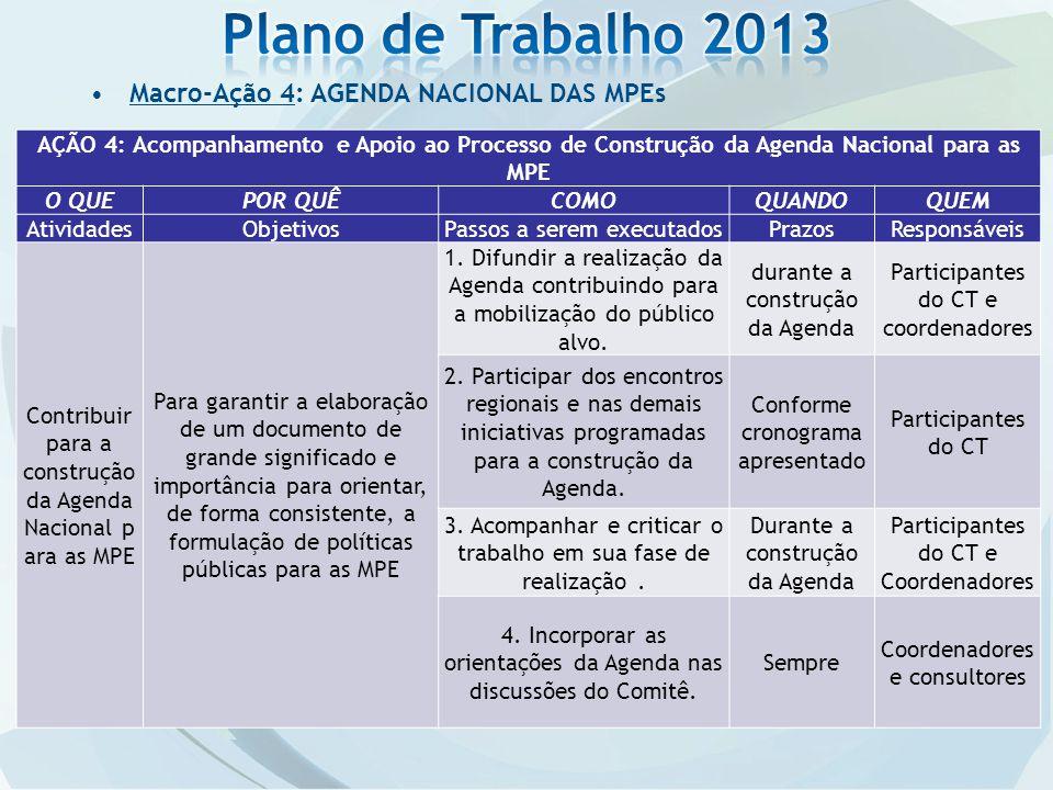 Plano de Trabalho 2013 Macro-Ação 4: AGENDA NACIONAL DAS MPEs