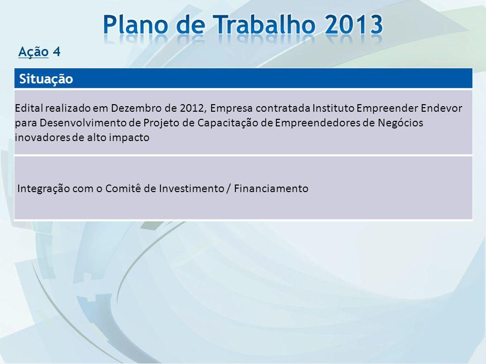 Plano de Trabalho 2013 Situação Ação 4